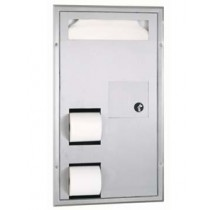 Bobrick Partition Mounted Seat-Cover Dispenser, Sanitary Napkin Disposal and Toilet Tissue Dispenser