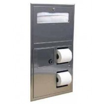 Bobrick Recessed Seat-Cover Dispenser, Sanitary Napkin Disposal and Toilet Tissue Dispenser