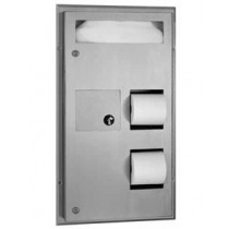 Bobrick Partition Mounted Seat-Cover Dispenser, Napkin Disposal and Toilet Tissue Dispenser
