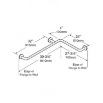Bobrick 1-1/2 Diameter Satinless Steel Two Wall Grab Bar 24
